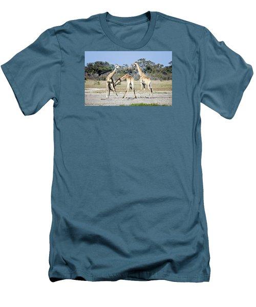 Men's T-Shirt (Slim Fit) featuring the photograph Necking Giraffes Botswana by Liz Leyden