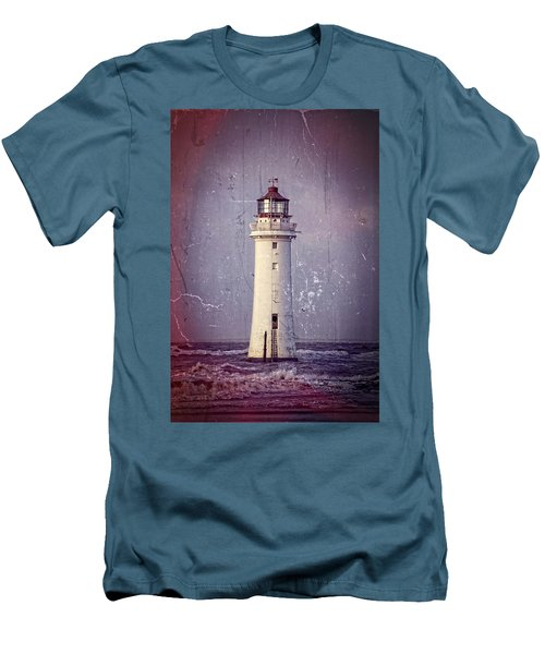 New Brighton Lighthouse Men's T-Shirt (Slim Fit) by Spikey Mouse Photography