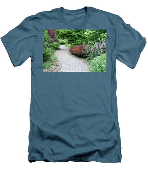 Men's T-Shirt (Slim Fit) featuring the photograph Frelinghuysen Arboretum Path by Richard Bryce and Family