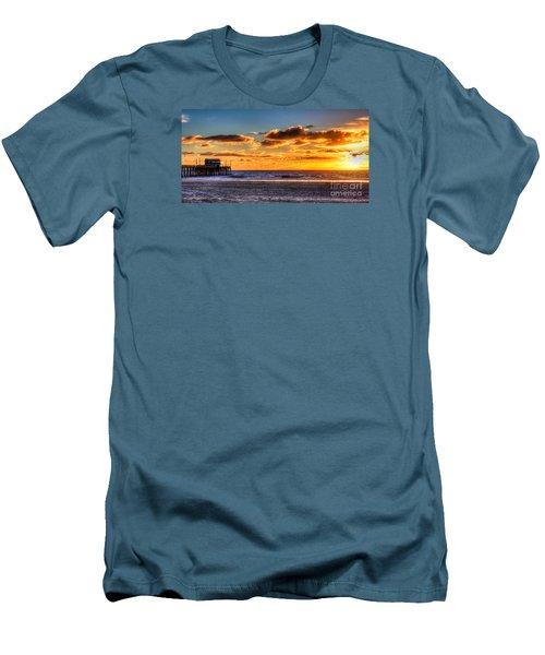 Newport Beach Pier - Sunset Men's T-Shirt (Slim Fit) by Jim Carrell