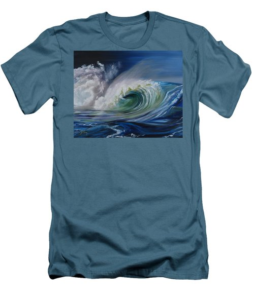 Men's T-Shirt (Slim Fit) featuring the painting North Shore Curl by Donna Tuten