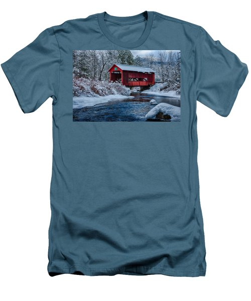 Northfield Vermont Covered Bridge Men's T-Shirt (Slim Fit) by Jeff Folger