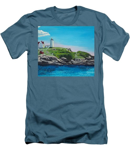 Nubble Lighthouse Sunrise Men's T-Shirt (Athletic Fit)