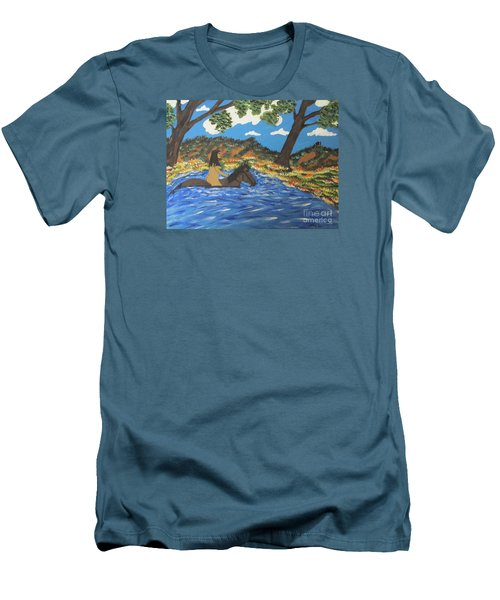 Men's T-Shirt (Slim Fit) featuring the painting Nude And Bareback Swim by Jeffrey Koss