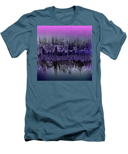 Nyc Tribute Skyline Men's T-Shirt (Slim Fit) by Bekim Art