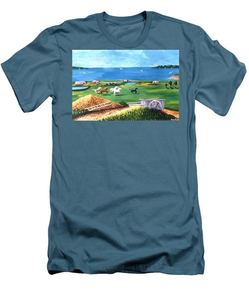 Men's T-Shirt (Slim Fit) featuring the painting Ocean Ranch by Lance Headlee