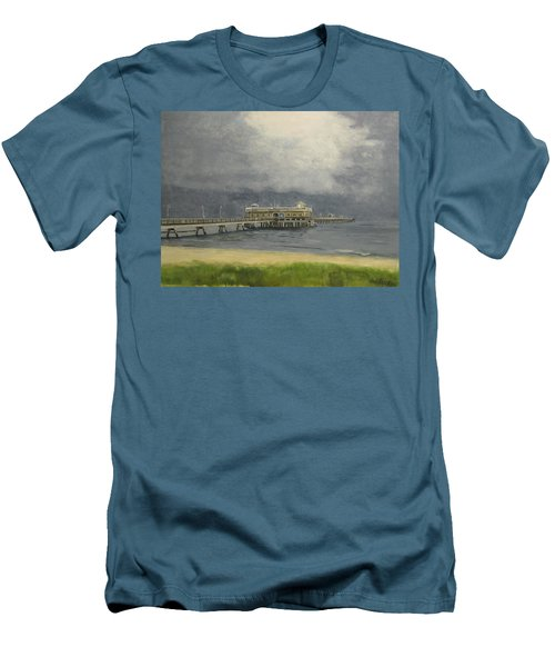 Ocean View Pier Men's T-Shirt (Slim Fit) by Stan Tenney
