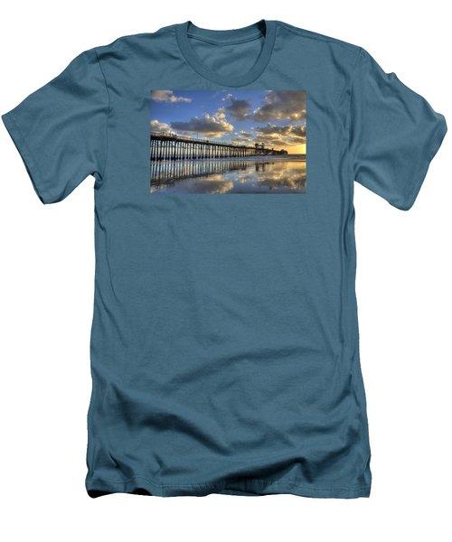 Oceanside Pier Sunset Reflection Men's T-Shirt (Slim Fit) by Peter Tellone