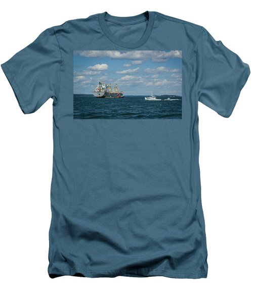 Men's T-Shirt (Slim Fit) featuring the photograph Oil Tanker And Lobster Boat by Jane Luxton