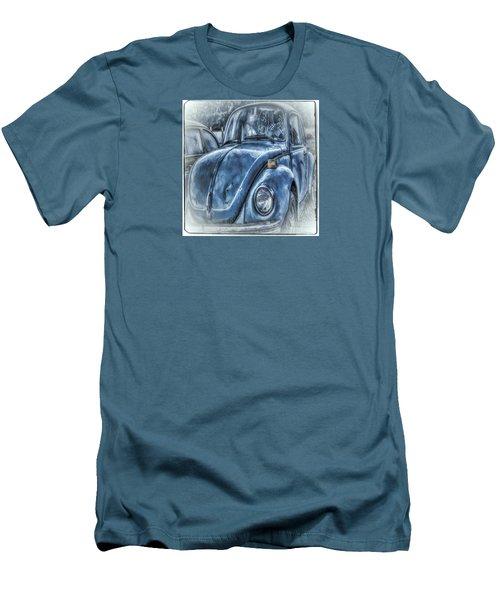 Men's T-Shirt (Slim Fit) featuring the photograph Old Blue Bug by Jean OKeeffe Macro Abundance Art