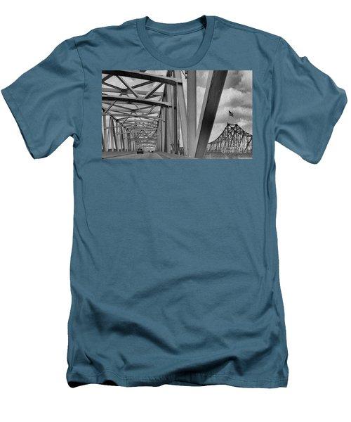 Men's T-Shirt (Slim Fit) featuring the photograph Old Bridge New Bridge by Janette Boyd