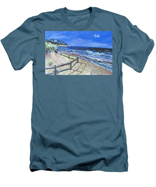 Old Silver Beach Men's T-Shirt (Slim Fit) by Rita Brown