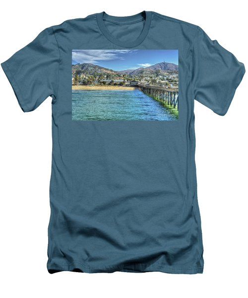 Old Ventura City From The Pier Men's T-Shirt (Slim Fit) by David Zanzinger