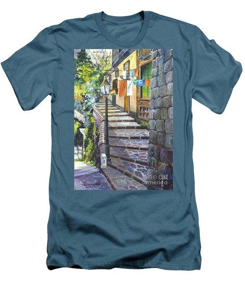 Old Village Stairs - In Tuscany Italy Men's T-Shirt (Slim Fit) by Carol Wisniewski