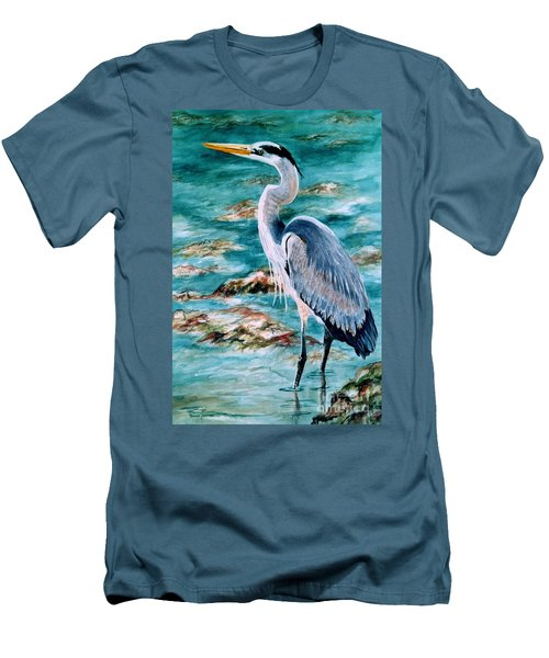 On The Rocks Great Blue Heron Men's T-Shirt (Athletic Fit)