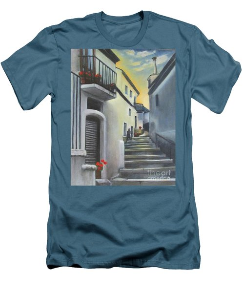 On The Way To Mamma's House In Castelluccio Italy Men's T-Shirt (Slim Fit) by Lucia Grilletto