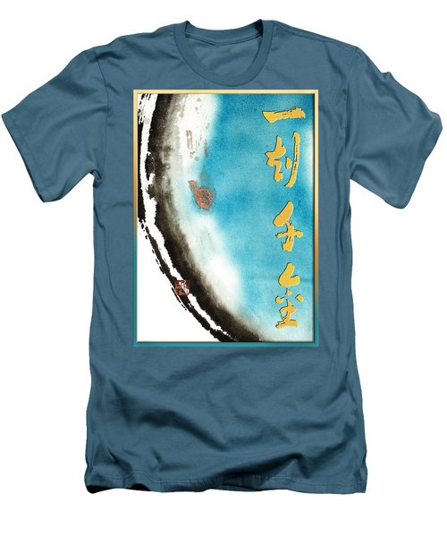Men's T-Shirt (Slim Fit) featuring the mixed media One Moment Thousand Gold - Every Moment Is Precious by Peter v Quenter
