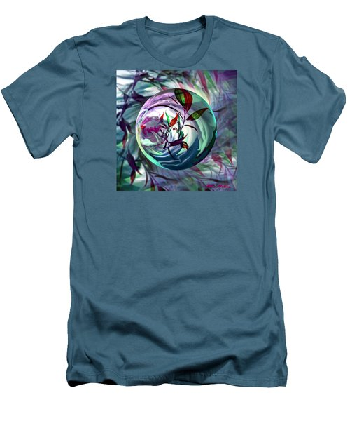 Men's T-Shirt (Slim Fit) featuring the digital art Orbiting Cranberry Dreams by Robin Moline