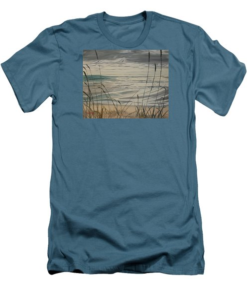 Men's T-Shirt (Slim Fit) featuring the painting Oregon Coast With Sea Grass by Ian Donley