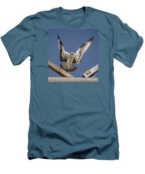 Men's T-Shirt (Slim Fit) featuring the photograph Osprey Landing by Dale Powell