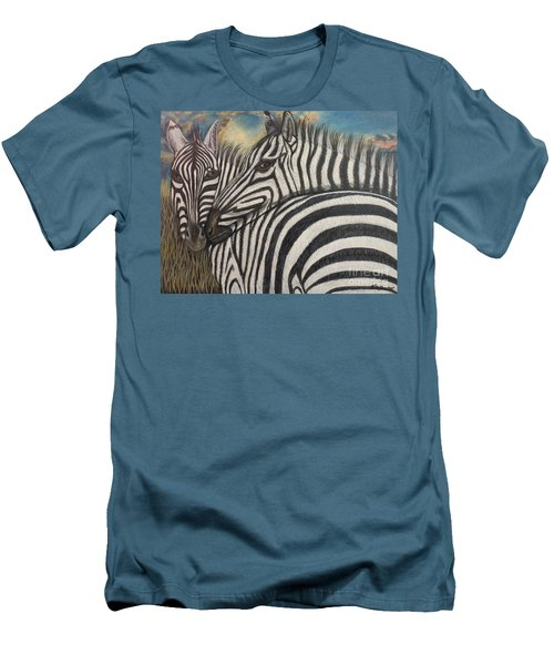 Men's T-Shirt (Slim Fit) featuring the painting Our Stripes May Be Different But Our Hearts Beat As One by Kimberlee Baxter
