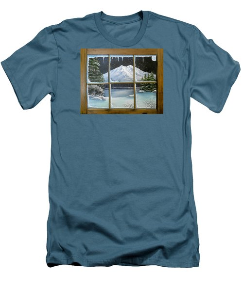 Out My Window-bright Winter's Night Men's T-Shirt (Slim Fit) by Sheri Keith
