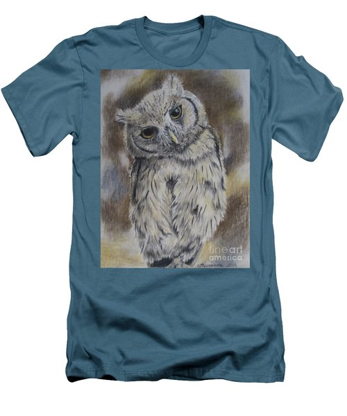 Men's T-Shirt (Slim Fit) featuring the drawing Owl by Laurianna Taylor