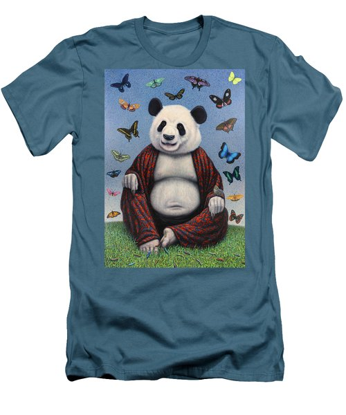 Panda Buddha Men's T-Shirt (Slim Fit) by James W Johnson