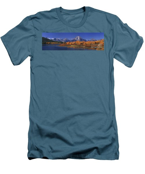 Men's T-Shirt (Slim Fit) featuring the photograph Panorama Fall Morning Oxbow Bend Grand Tetons National Park Wyoming by Dave Welling