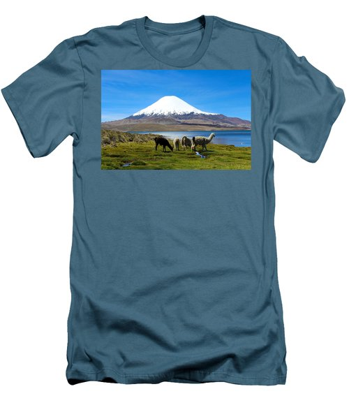 Parinacota Volcano Lake Chungara Chile Men's T-Shirt (Slim Fit) by Kurt Van Wagner