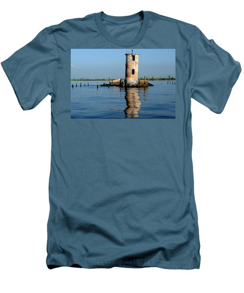 Pass Manchac Lighthouse Men's T-Shirt (Slim Fit) by Charlotte Schafer