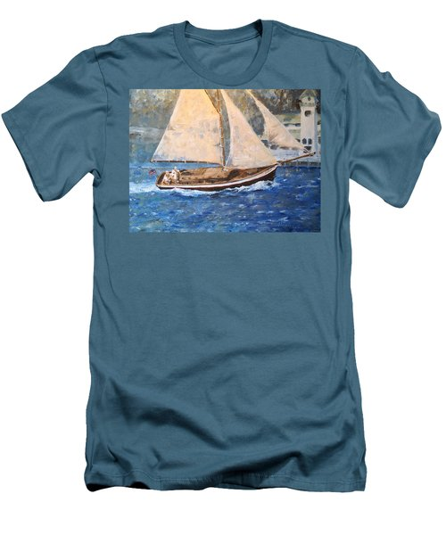 Men's T-Shirt (Slim Fit) featuring the painting Patriot At Catalina Lighthouse by Alan Lakin