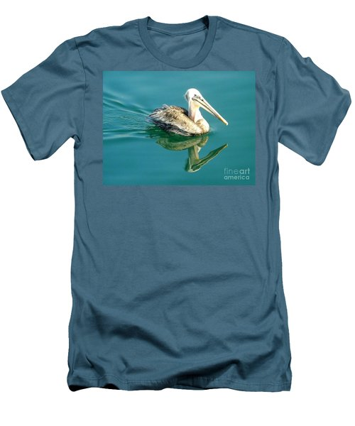Men's T-Shirt (Slim Fit) featuring the photograph Pelican In San Francisco Bay by Clare Bevan