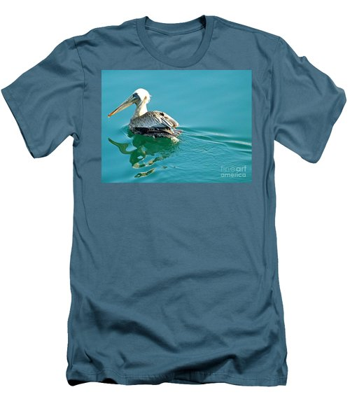 Men's T-Shirt (Slim Fit) featuring the photograph Pelican Swimming by Clare Bevan