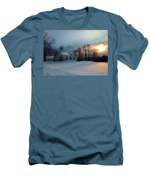 Piermont Church In Winter Light Men's T-Shirt (Slim Fit) by Nancy Griswold