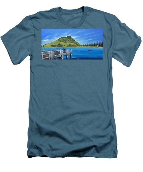 Pilot Bay Mt Maunganui 201214 Men's T-Shirt (Slim Fit) by Selena Boron