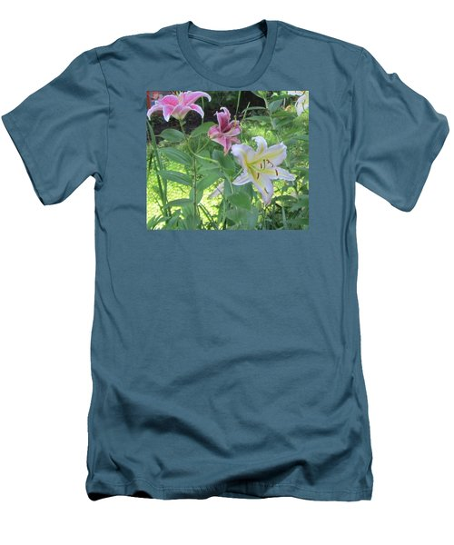 Pink And White Stargazer Lilies Men's T-Shirt (Athletic Fit)