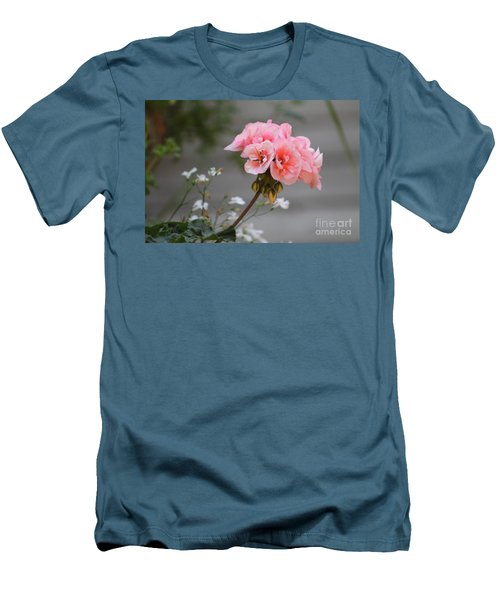 Pink Geranium Men's T-Shirt (Slim Fit) by Leone Lund