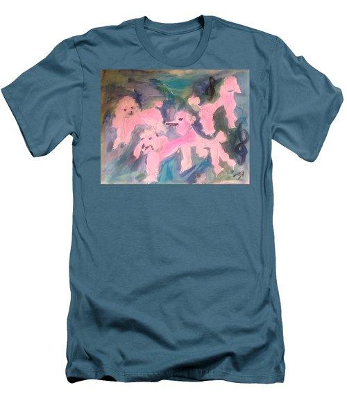 Pink Poodle Polka Men's T-Shirt (Athletic Fit)
