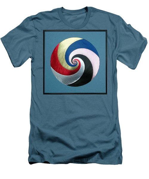 Men's T-Shirt (Slim Fit) featuring the mixed media Pinwheel by Ron Davidson
