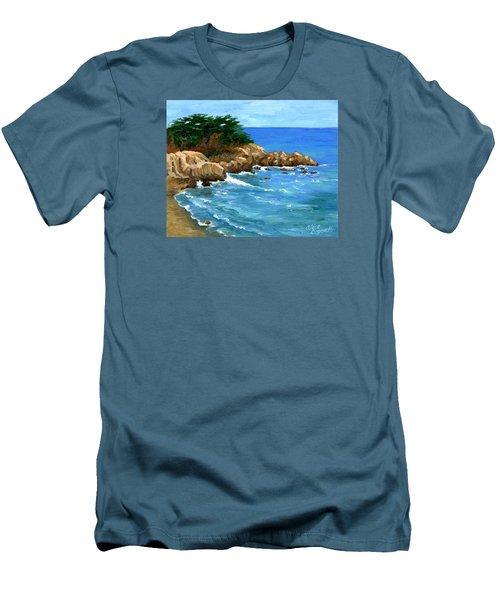 Point Lobos Coast Men's T-Shirt (Slim Fit) by Alice Leggett