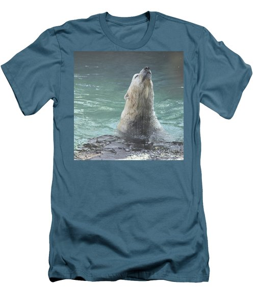 Polar Bear Jumping Out Of The Water Men's T-Shirt (Slim Fit) by John Telfer
