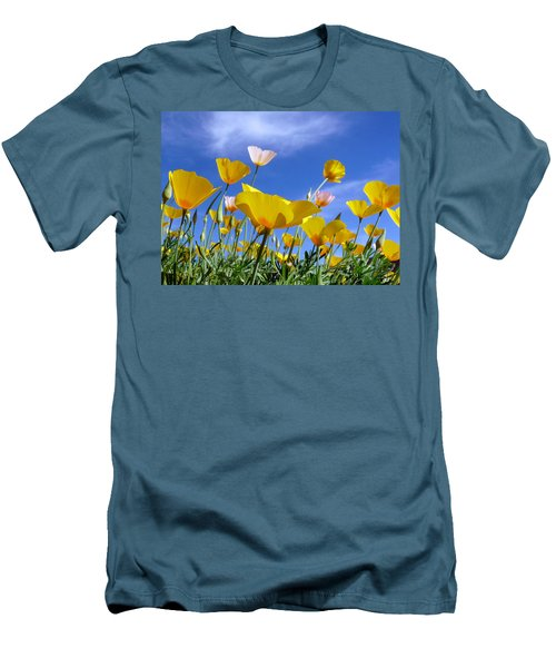 Poppies And Blue Arizona Sky Men's T-Shirt (Slim Fit) by Lucinda Walter