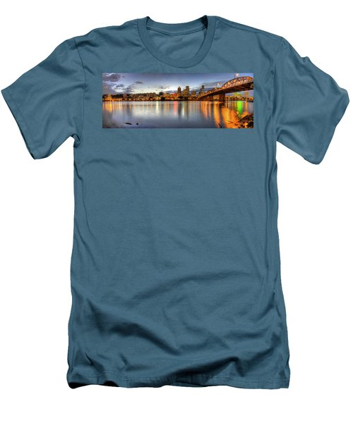 Portland Downtown Skyline Night Panorama 2 Men's T-Shirt (Athletic Fit)