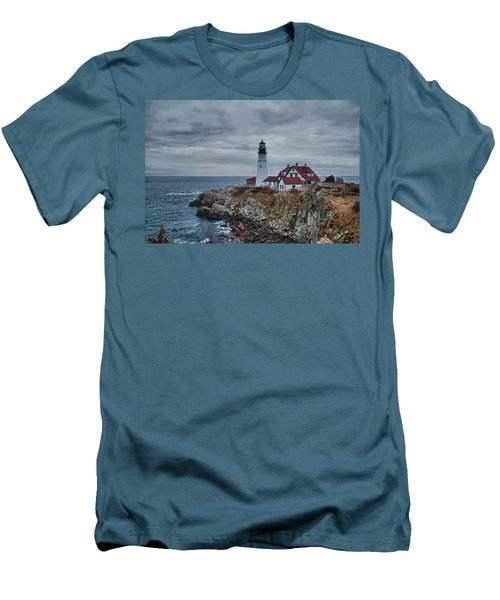 Men's T-Shirt (Slim Fit) featuring the photograph Portland Headlight 14440 by Guy Whiteley