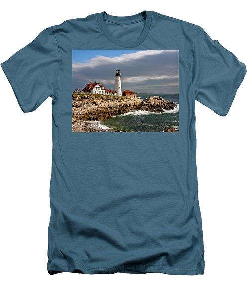 Men's T-Shirt (Slim Fit) featuring the photograph Portland Headlight by John Haldane