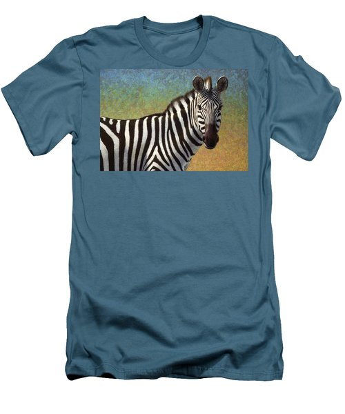 Men's T-Shirt (Slim Fit) featuring the painting Portrait Of A Zebra by James W Johnson