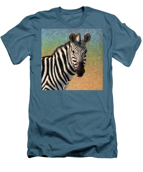 Men's T-Shirt (Slim Fit) featuring the painting Portrait Of A Zebra - Square by James W Johnson
