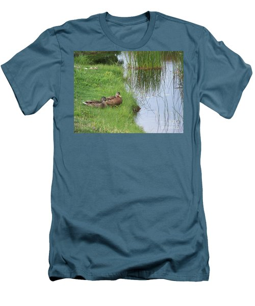 Mated Pair Of Ducks Men's T-Shirt (Slim Fit) by Eunice Miller