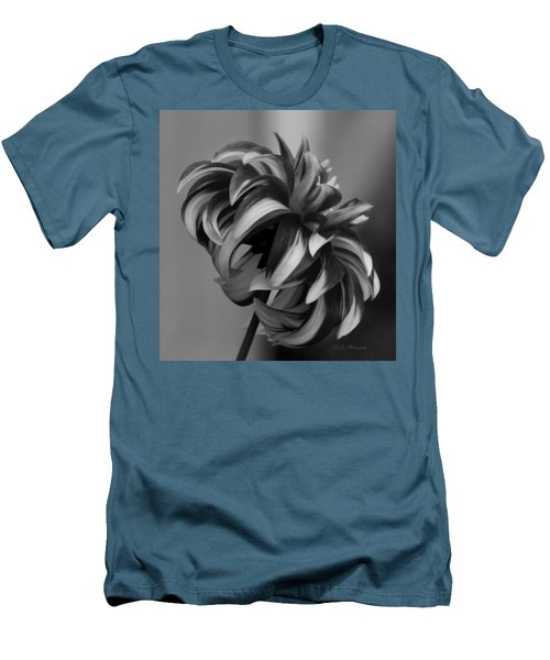 Profile Of Not Santa Two In Black And White Men's T-Shirt (Slim Fit) by Jeanette C Landstrom